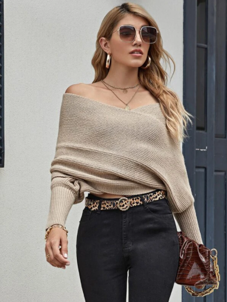 Khaki off shoulder wrap sweater