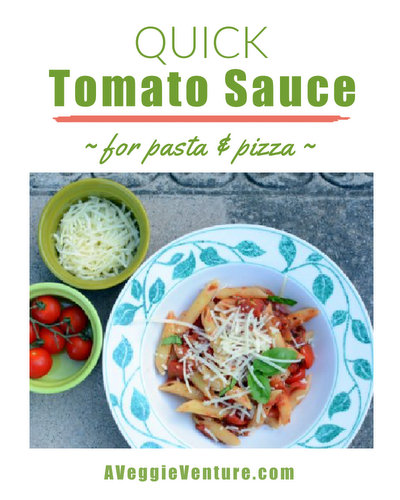 Quick Tomato Sauce for Pasta & Pizza ♥ AVeggieVenture.com, just canned tomatoes plus pantry ingredients, ready in 20 minutes.