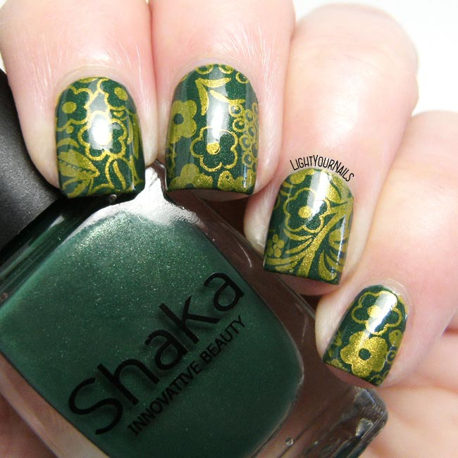 Green and gold flowers stamping nail art feat. Shaka and Bornprettystore