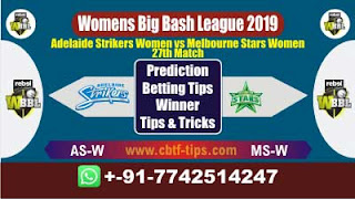 Who will win Today WBBL 2019, 27th Match MSW vs ASW 27th, WBBL T20 2019