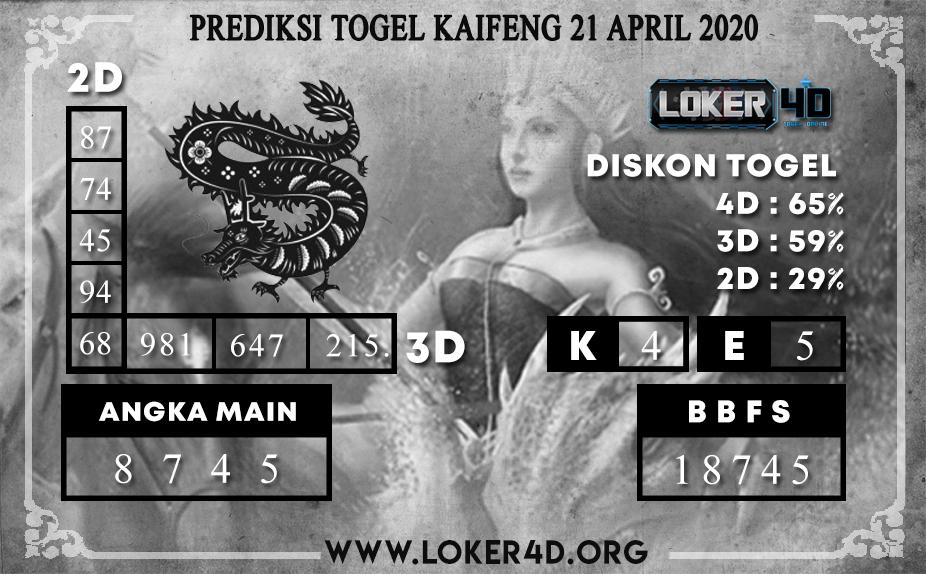 PREDIKSI TOGEL KAIFENG LOKER4D 21 APRIL 2020