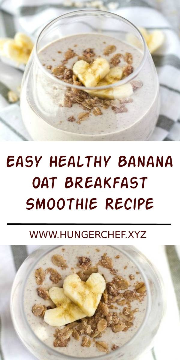 This Banana Oat Breakfast Smoothie is guaranteed to keep you satisfied all morning with 20 grams of whole food protein and a good balance of healthy carbs and fats! #breakfast #easybreakfast #healthybreakfast #smoothies #smoothierecipes
