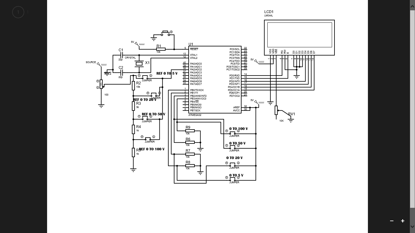 100 Volt Range Voltmeter Using Atmega 32 Electronics Circuit Shows About Designing Simple Digital Multimeter Schematics Is Shown Below