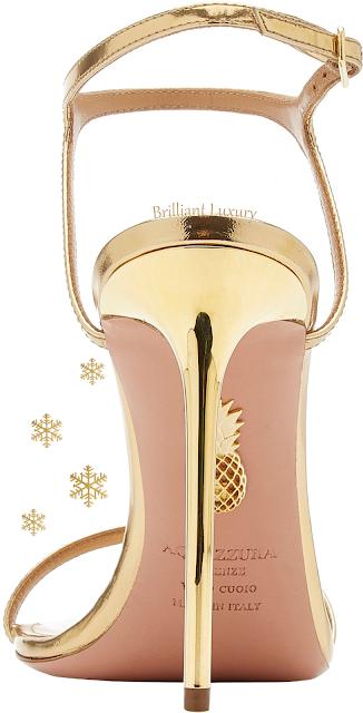 Aquazzura Naked golden leather sandal #brilliantluxury