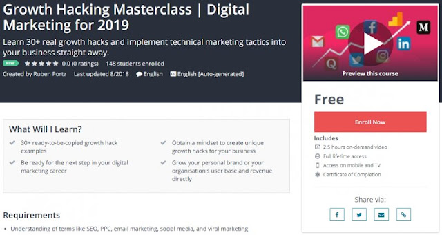 [100% Free] Growth Hacking Masterclass | Digital Marketing for 2019