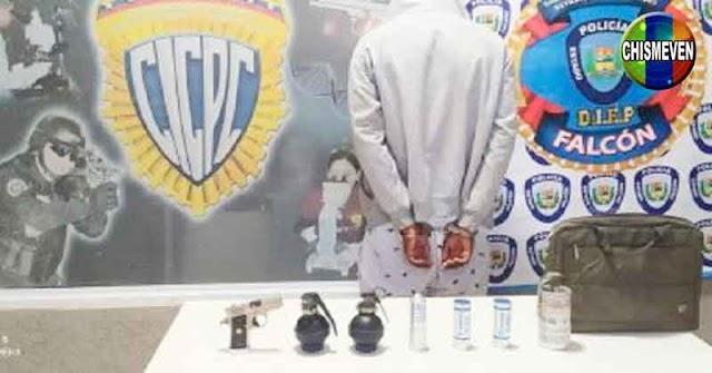 Tuky de 19 años capturado con 3 granadas y un arma en Coro