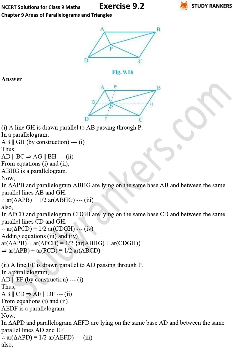 NCERT Solutions for Class 9 Maths Chapter 9 Areas of Parallelograms and Triangles Exercise 9.2 Part 3