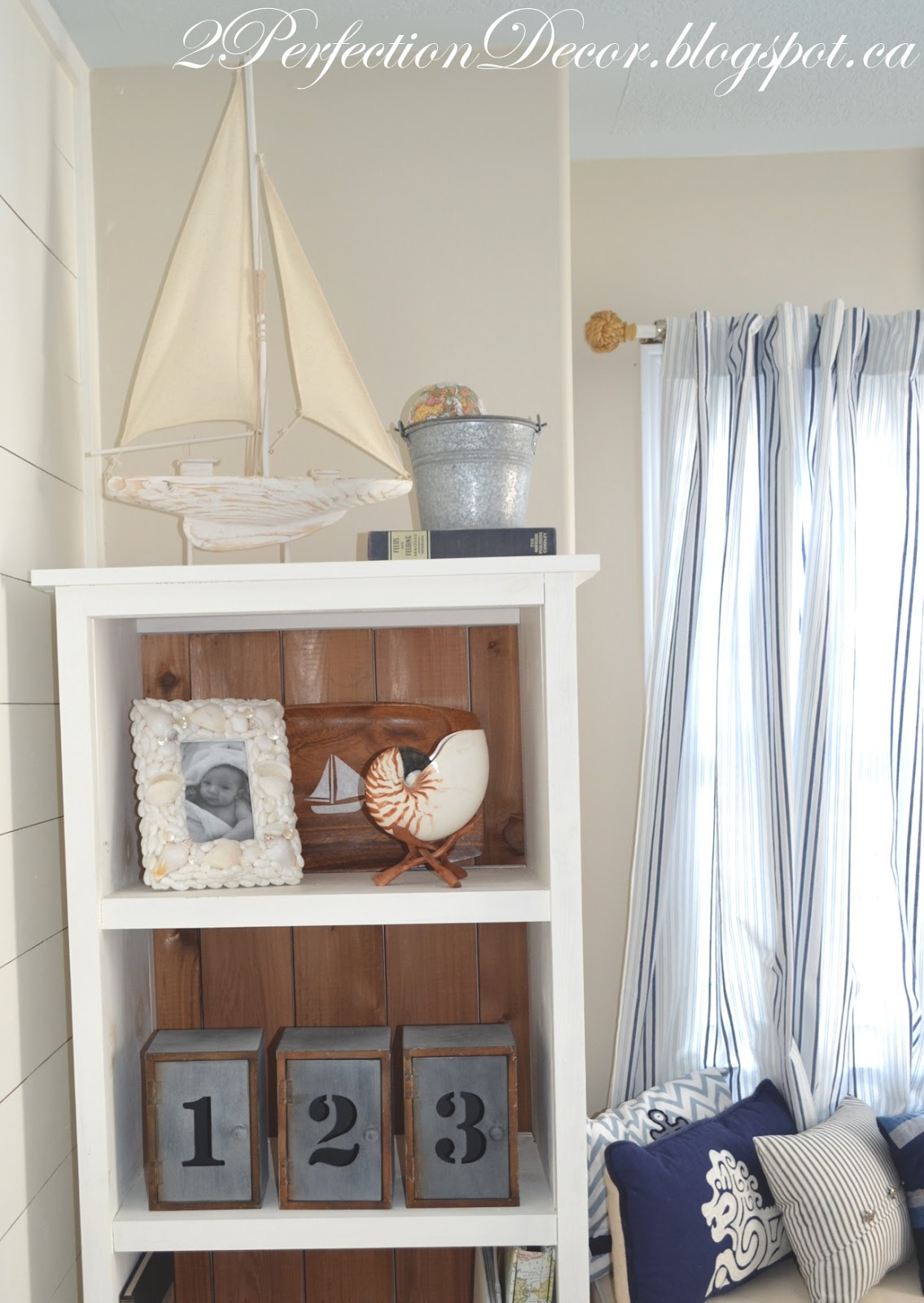 Nautical nursery curtains - I Kept The Bookcase Decor A Mix Of Newer Items With Vintage Finds I Added Touches Of Galvanized Metal Which Tied To The Large Galvanized Metal Wall