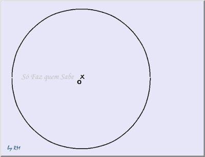 Traçado de uma circunferência para inscrever um polígono de 9 lados nela