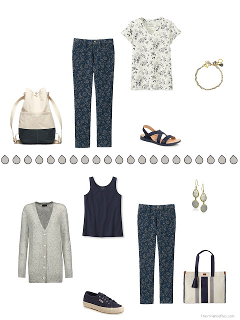 two ways to wear flowered navy pants