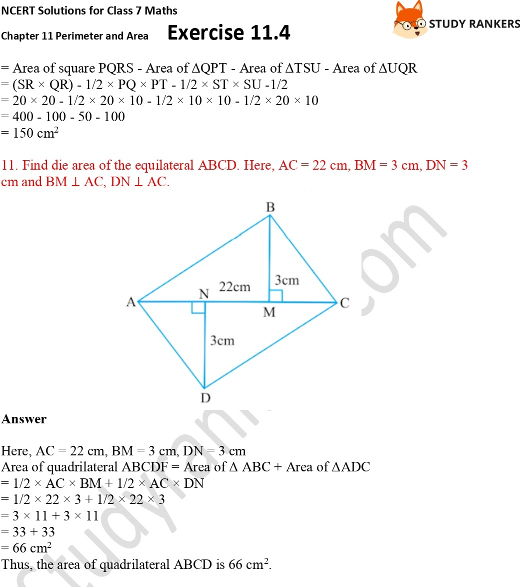 NCERT Solutions for Class 7 Maths Ch 11 Perimeter and Area Exercise 11.4 Part 8