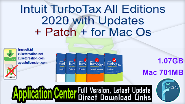 Intuit TurboTax All Editions 2020 with Updates + Patch + for Mac Os