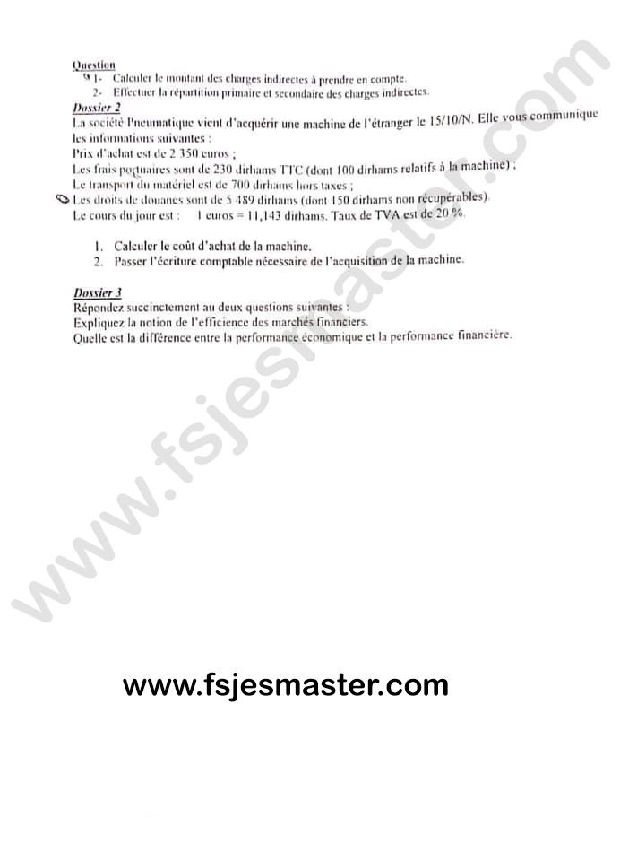 Exemple de Concours Master Gestion Financière et Comptable 2019-2020 - ENCG Kénitra