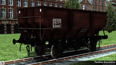 Fastline Simulation: A weather worn freight brown rebodied dia. 1/146 21t hopper with black under-frame.