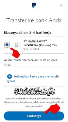 Pilih Bank Tujuan transfer dan klik Berikutnya