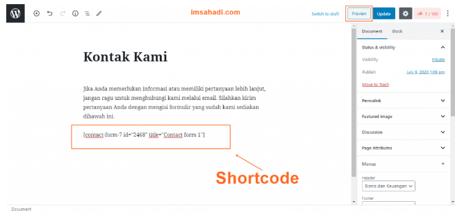 tambahkan Shortcode contact form 7