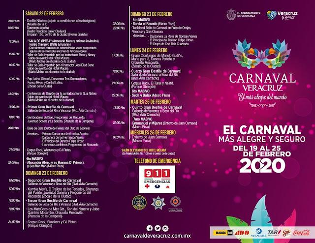 programa completo carnaval veracruz 2020