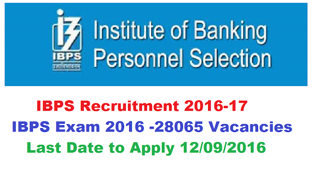 Institute of Banking Personnel Selection (IBPS) Recruitment 2016 CWE Clerks -VI – 19243 Posts| Government Banks Recruitment through Institute of Banking Personnel Selection (IBPS) Jobs Opening updated on the post CWE clerks IV| recruitment notification of IBPS | IBPS Exam 2016|http://www.ibps.in//2016/08/ibps-recruitment-2016-17-ibps-exam-2016-institute-of-banking-personnel-selection-cwe-clerks-.html