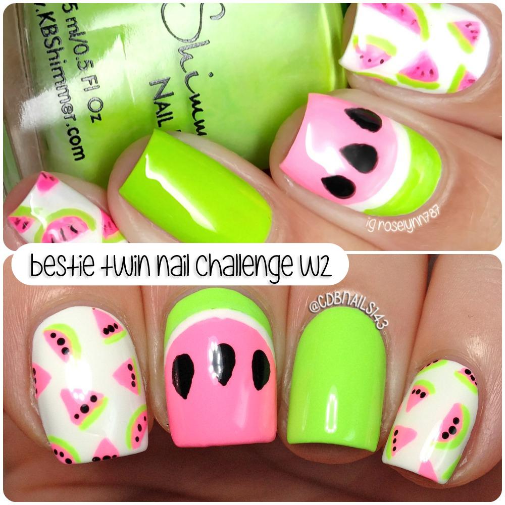 cdbnails: Twin Nail Challenge | Watermelon