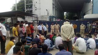 तिरुपति बालाजी कंपनी मे मज़दूर की मौत, शव को गेट पर रख दिया धरना