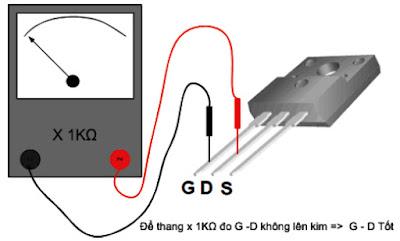 Hình 22 - Đo giữa G và D phải cách điện, không lên kim.