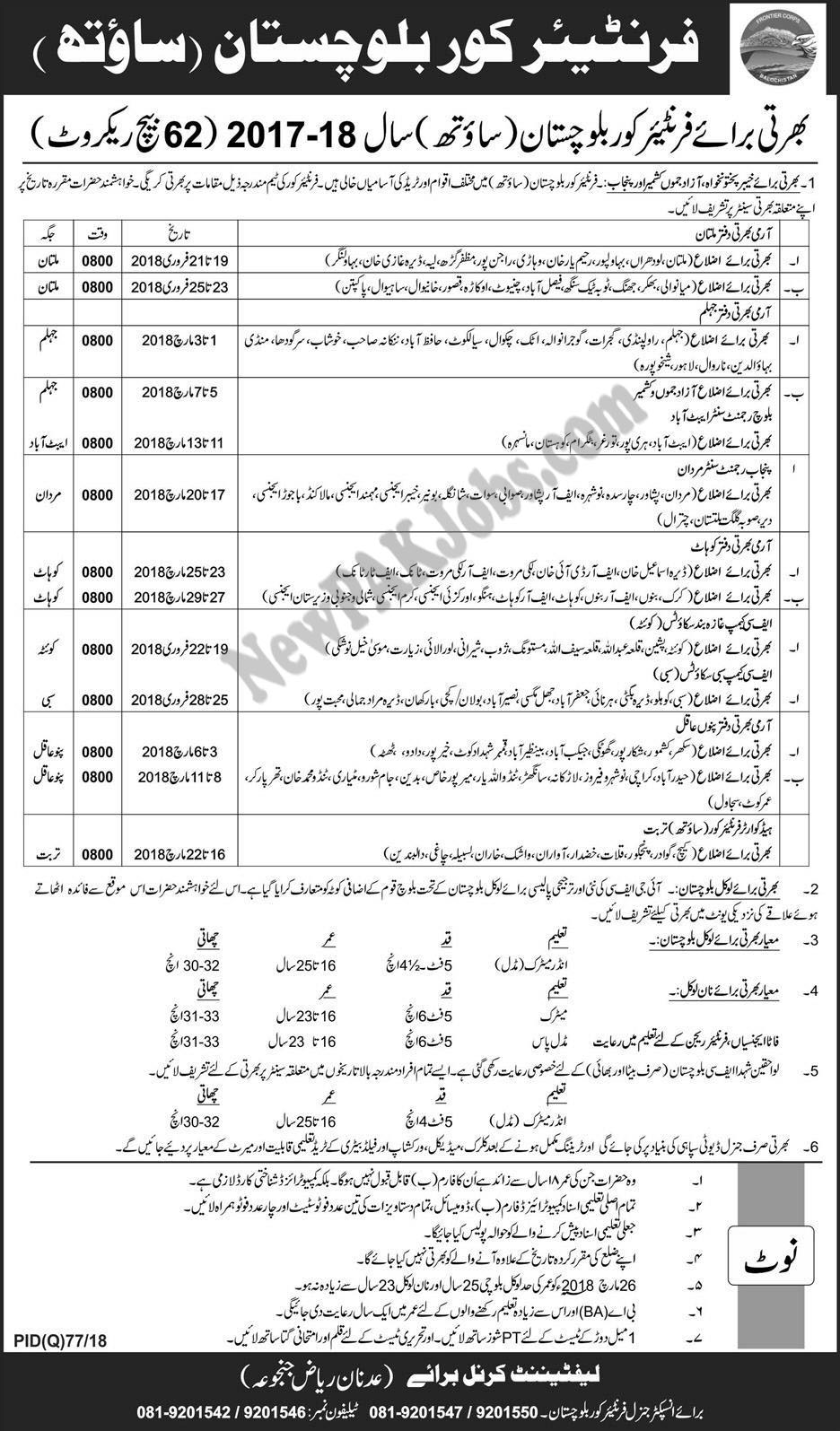 New Jobs in Frontier Core Balochsitan South 62 Batch, Today Feb 2018