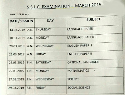 TN SSLC March 2019 Timetable