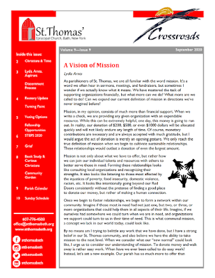 The first page of the September 2020 newsletter