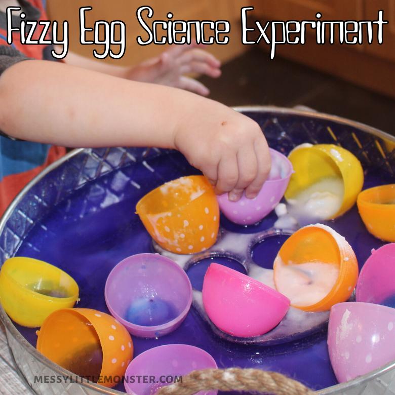 Fizzy plastic Easter egg baking soda and vinegar reaction