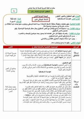 مذكرات مادة اللغة العربية المقطع السابع (7) السنة الرابعة ابتدائي الجيل الثاني