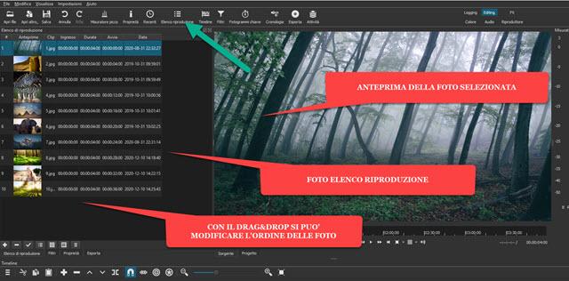 interfaccia di shotcut con foto in elenco riproduzione