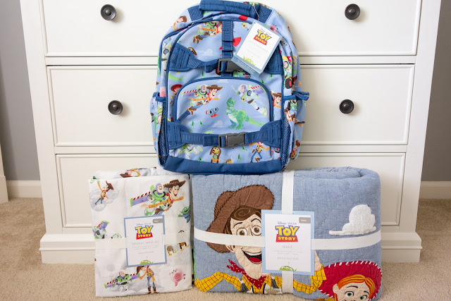 Toy Story backpack, quilt and sheets from Pottery Barn Kids