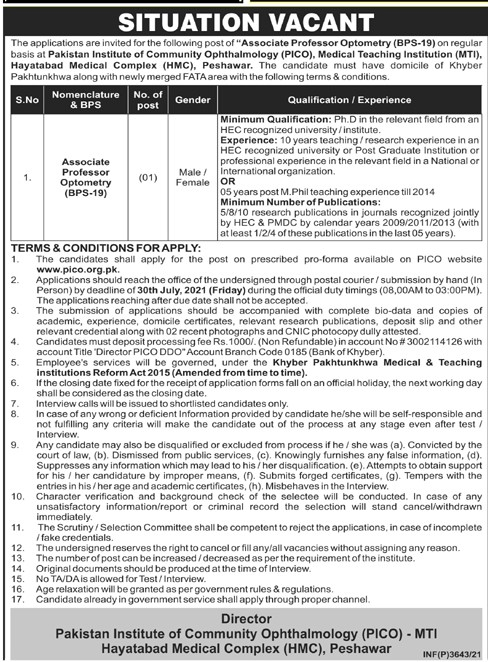 www.pico.org.pk Jobs 2021 - Pakistan Institute of Community Ophthalmology (PICO) Jobs 2021 in Pakistan