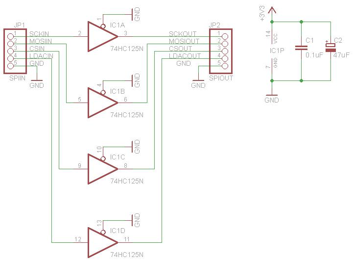 音源とオーディオの電子工作(予定): SPI信号の補強に3-State Bufferの