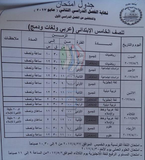 جدول امتحانات الصف الخامس الابتدائي 2017 الترم الثاني محافظة مطروح