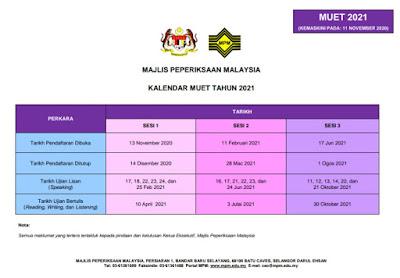 Kalendar Peperiksaan MUET 2021 (Jadual Ujian Dan Pendaftaran)