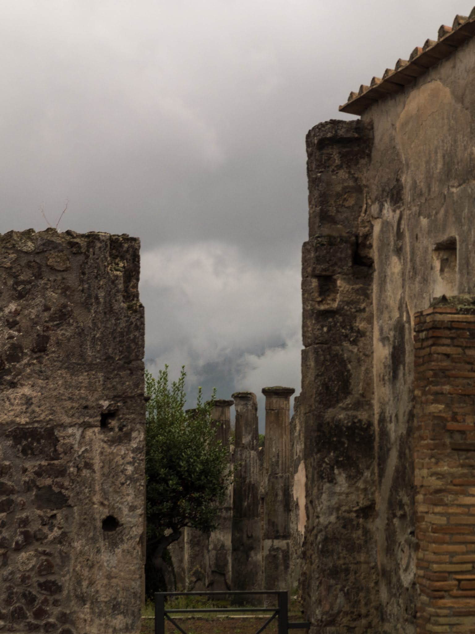 View of columns in the Archaeological site of Pompeii.