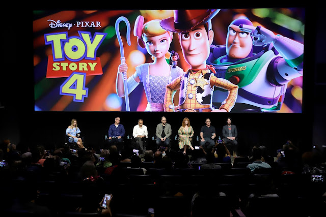 Toy Story 4 press event with Director Josh Cooley, producers Jonas Rivera and Mark Nielson and vocal cast Christina Hendricks, Tim Allen and Keanu Reeves