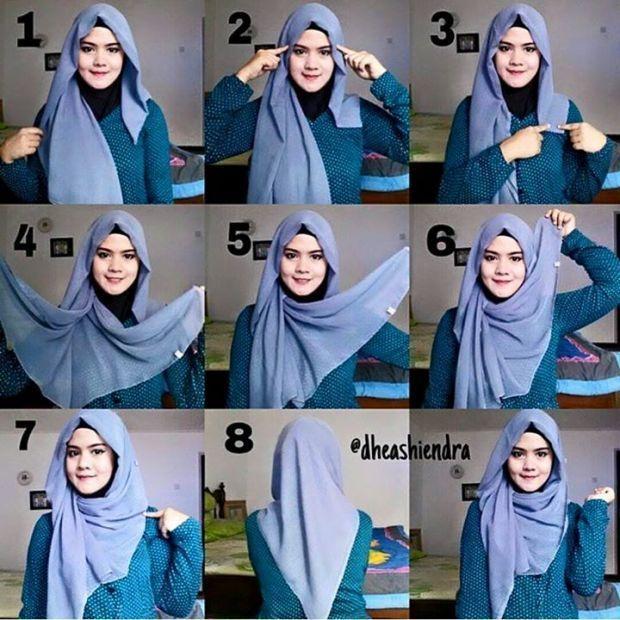 Cara Hijab Segi Empat Yang Sederhana dan Praktis 6