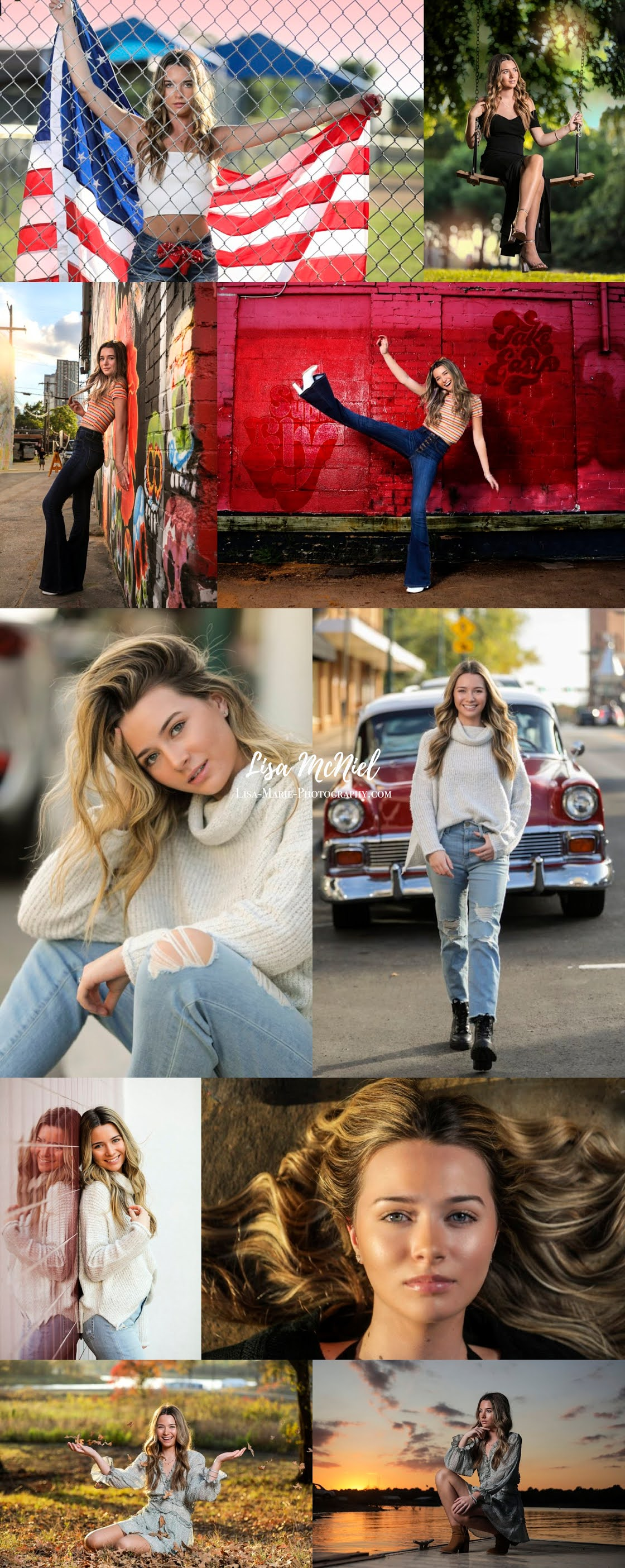 Variety of senior pictures girl