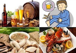 Các yếu tố bên ngoài như chế độ ăn uống là nguyên gây ra bệnh gout