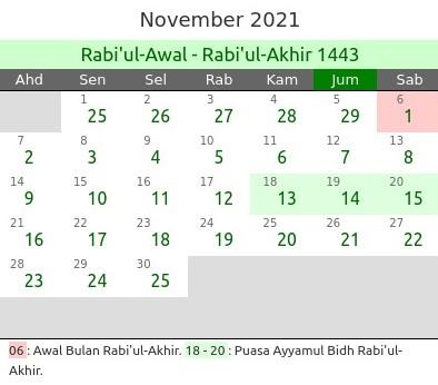Kalender Hijriyah November 2021 dan Jadwal Puasa Lengkap