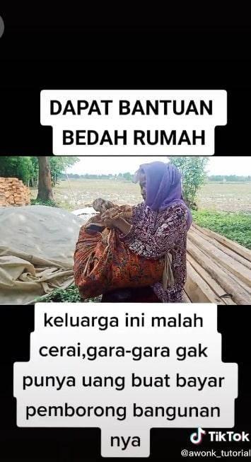 Pasangan Suami istri di Pabuaran, Subang, Jawa Barat, dikabarkan bercerai setelah dapat bantuan bedah rumah.