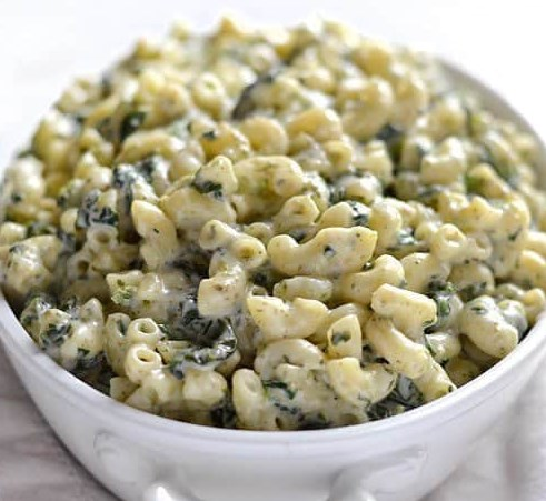 CREAMY PESTO MAC WITH SPINACH #vegetables #veggies