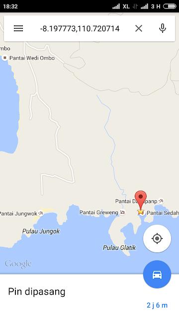 rute, jalan, peta lokasi pantai sedahan gunungkidul yogyakarta