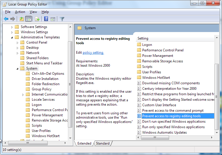 Local Group Policy Editor - prevent access to registry editing tools