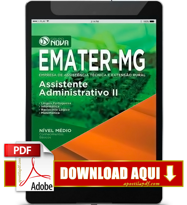 Apostila EMATER MG 2016 PDF Download Assistente Administrativo
