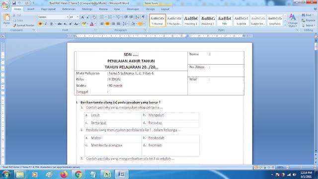 Soal Ukk Tema 5 Kelas 2 Dan Kunci Jawaban Kurikulum 2013