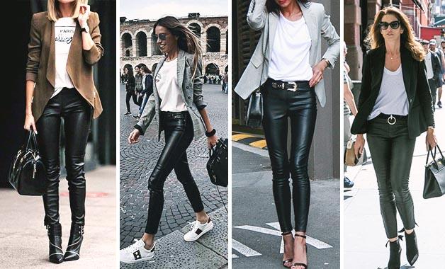 White T-shirt + Blazer + Black leather pants