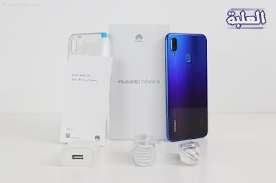 محتويات علبة هاتف huawei nova 3i هوواي نوفا 3i